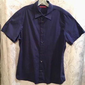 Prada Blue Short Sleeve Button Down Shirt